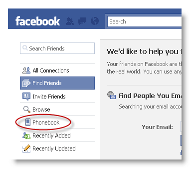 how to find friends with phone numbers on facebook