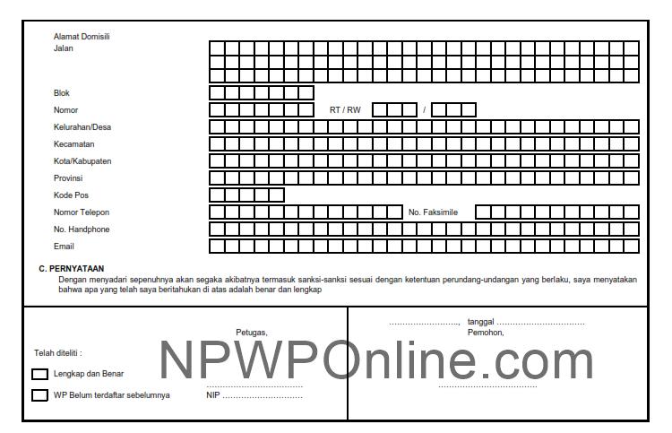 Formulir Pendaftaran NPWP Perusahaan Format Excel dan PDF