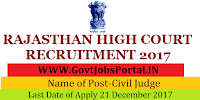 High Court Rajasthan Recruitment 2017– 35 Civil Judge