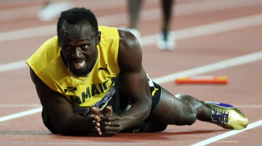 usain bolt falls down