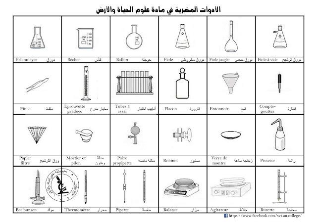 أدوات مخبرية بالعربية و الفرنسية