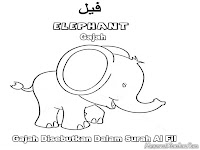 Elephant Islamic Animal Kids Coloring Pages