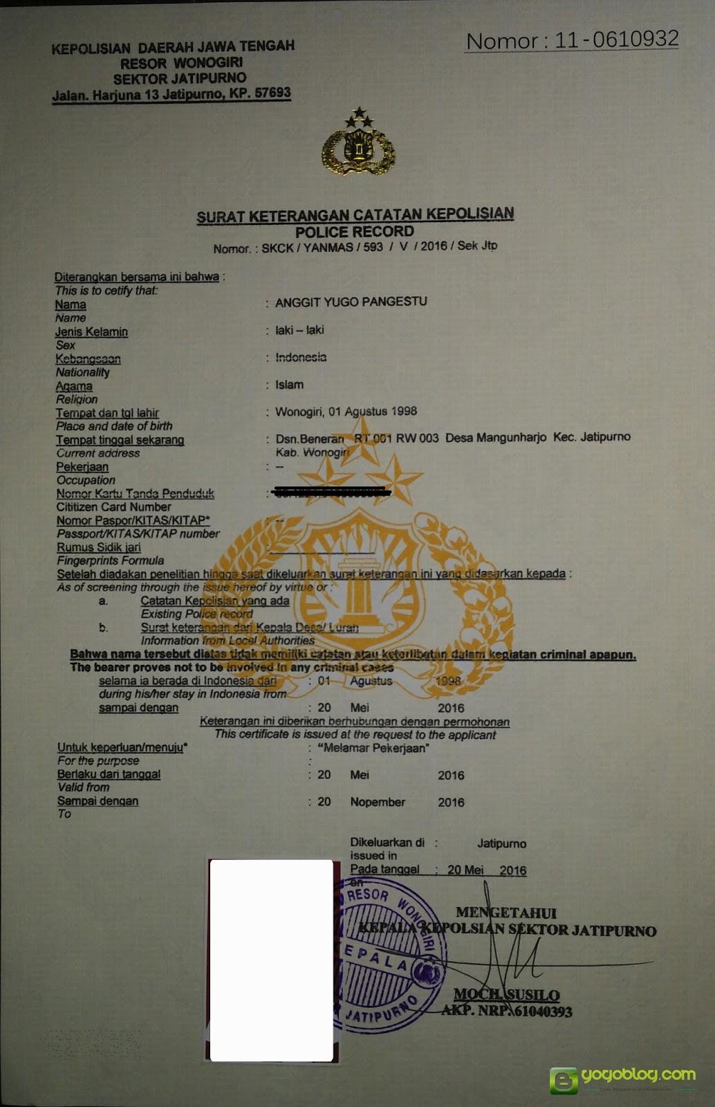 Tampak Surat Keterangan Catatan Kepolisian