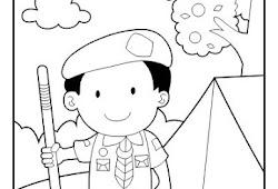 Contoh Gambar Mewarnai Gambar Anak Pramuka Kataucap