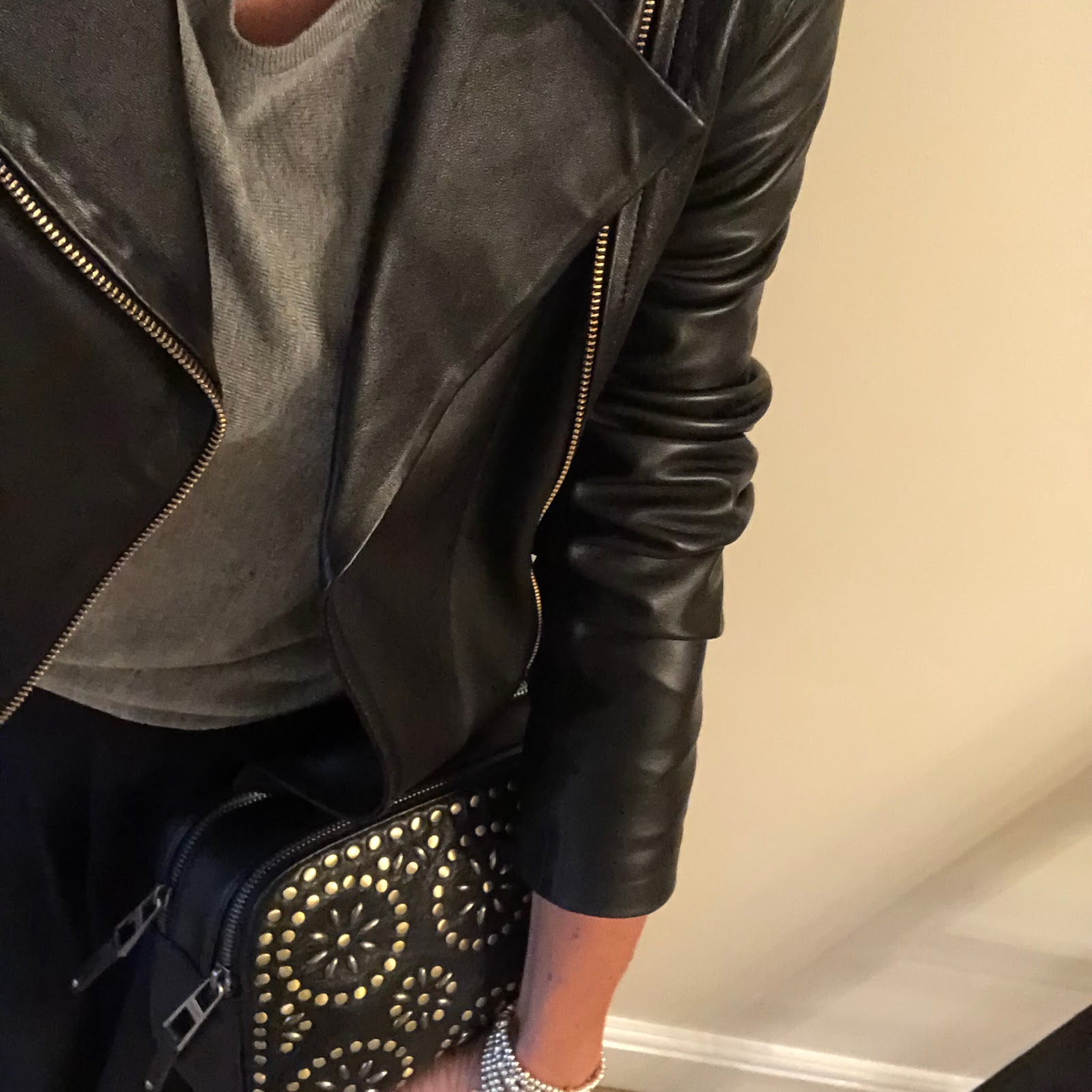 my midlilfe fashion, baukjen everyday leather biker jacket, baukjen ella batwing jumper, marks and spencer asymmetric maxi skirt, village england penshaw bag, golden goose superstar low top leather trainers