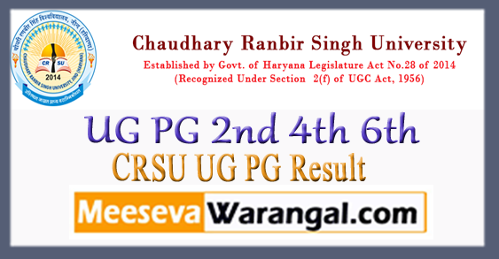 CRSU Chaudhary Ranbir Singh University UG PG 2nd 4th 6th Semester Result 2018