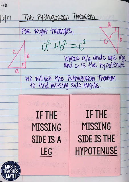 the Pythagorean Theorem foldable and lesson idea for interactive notebooks in high school geometry