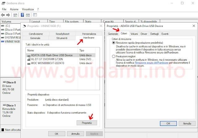 Windows 10 strumento Gestione disco e procedura per verificare il criterio di rimozione dell'hardware