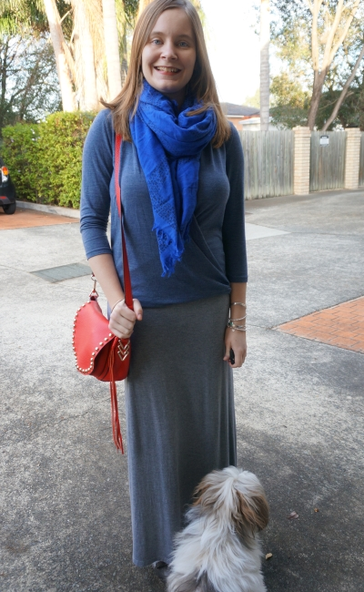 Navy wrap top cobalt scarf grey maxi skirt and red bag | AwayFromBlue