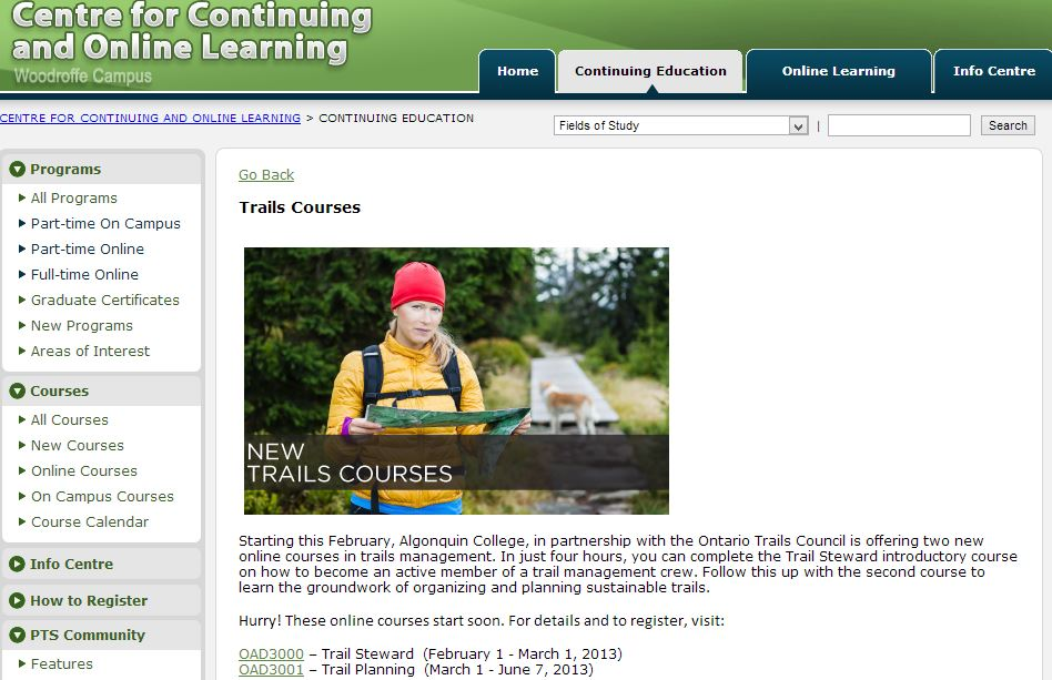 Algonquin College On-Line Trails Education