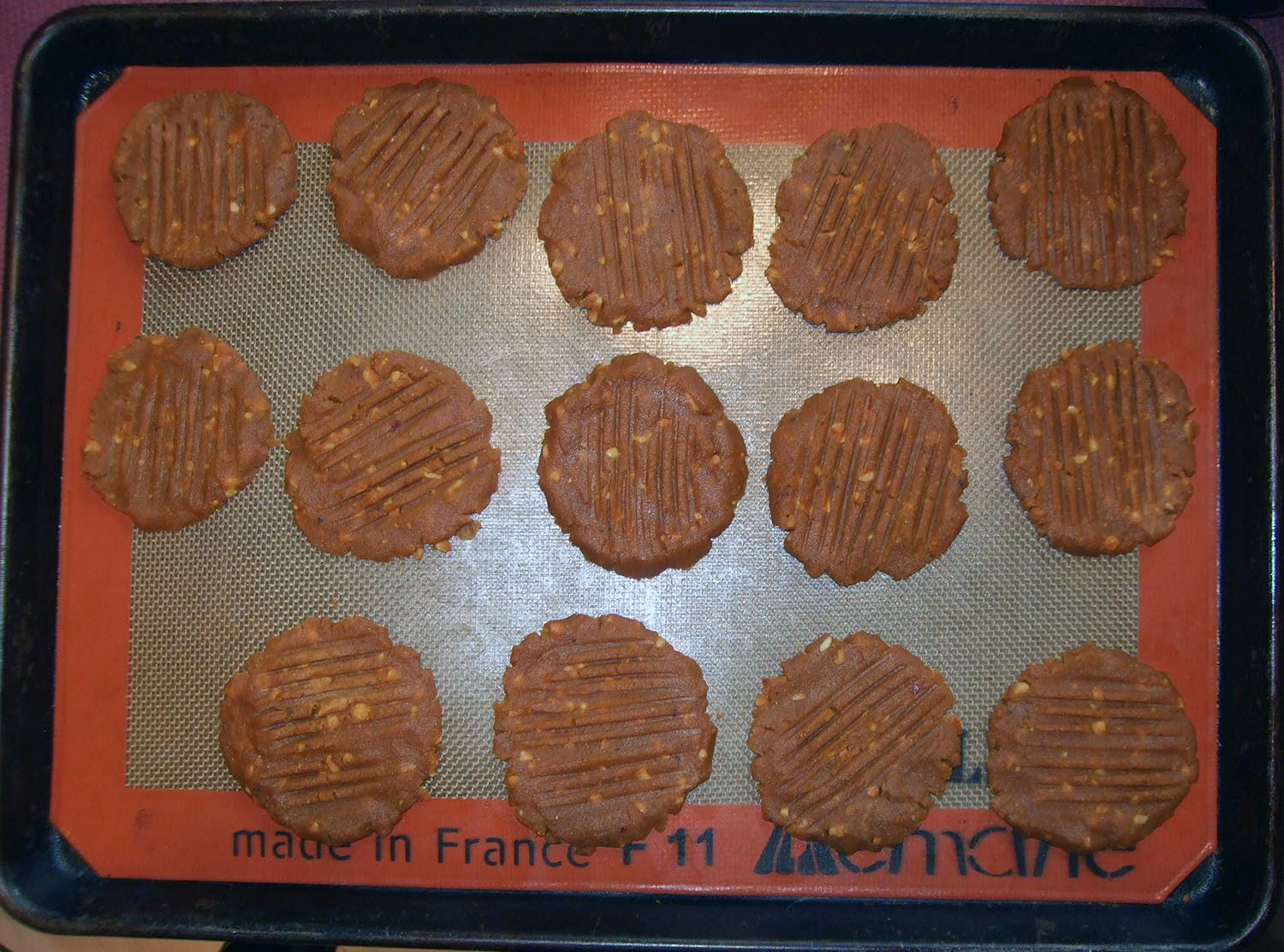 Peanut Butter Curry Cookies on baking sheet.