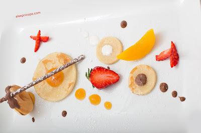 #pancakes , #chocolate, #apricot #jam , #peach, #stick , #dessert , #delicious