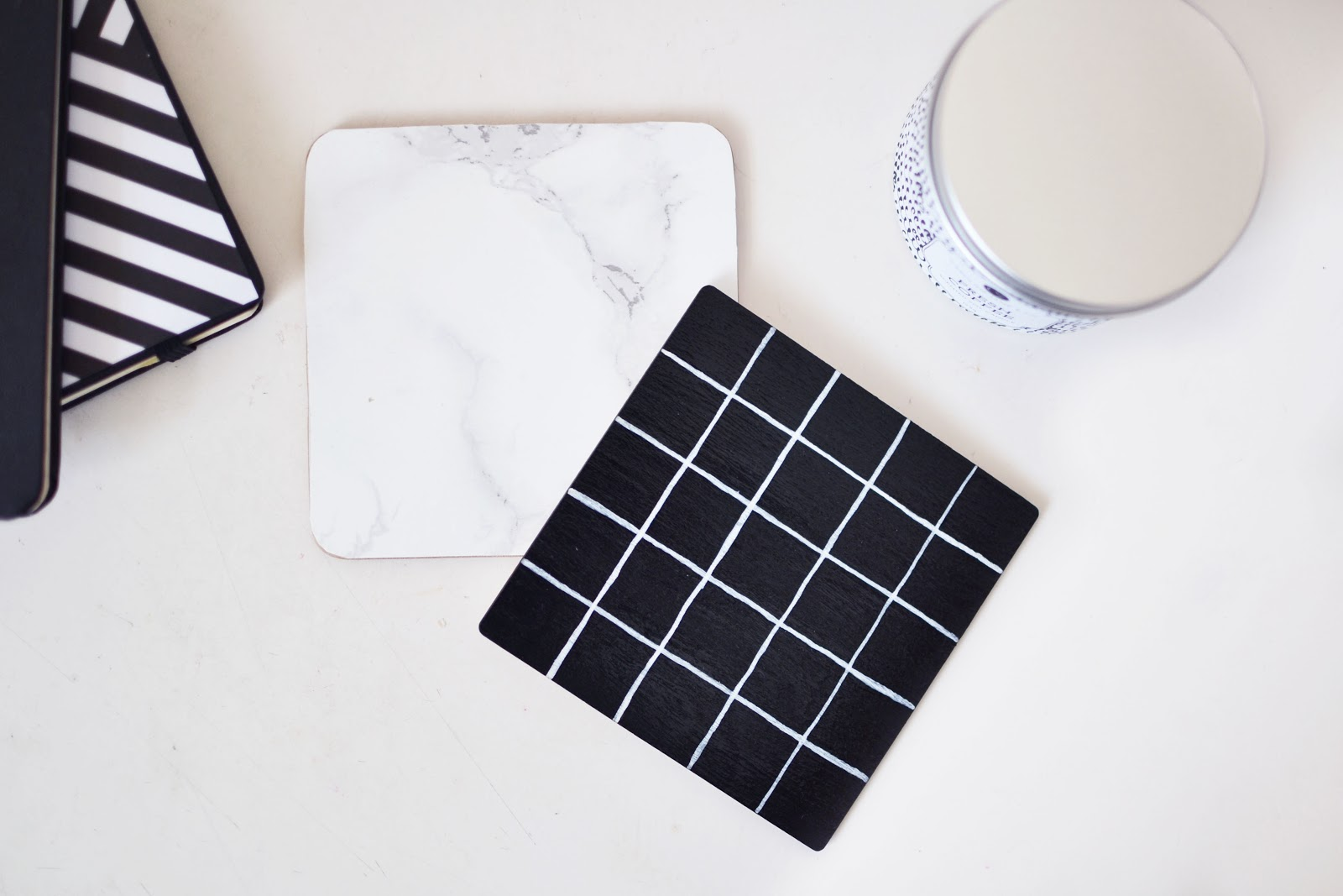 marble coaster, grid print coaster