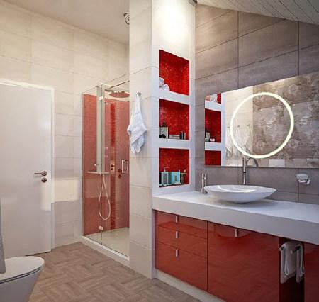 Phòng tắm với những gam màu mạnh mẽ
