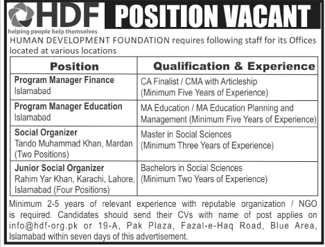 Jobs in Pakistan HDF Human Development Foundation Jobs 2016