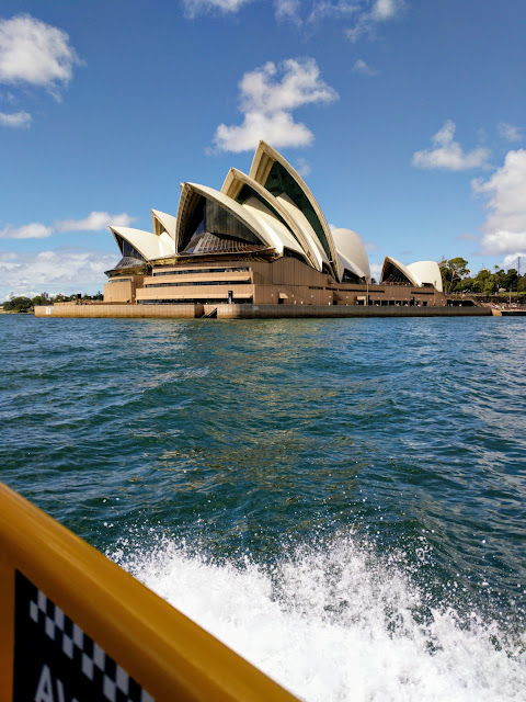 Sydney Opera House viewed from a water taxi
