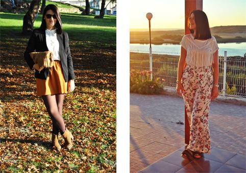 Foto1 - saia amarela com camisa branca por dentro e blazer preto cintado | Foto2 - Calças largas florais cintura subida com tshirt branca por dentro.