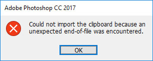 Could not import the clipboard because an unexpected end-of-file was encountered