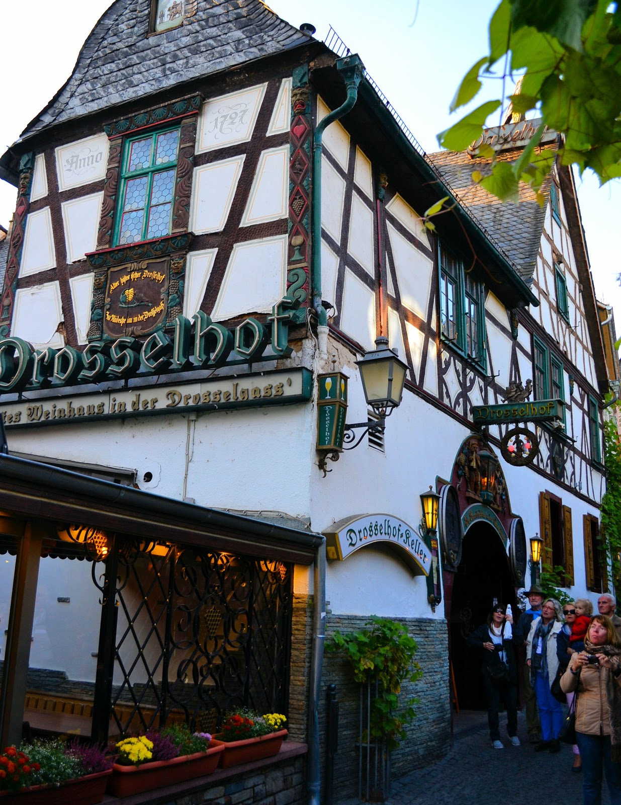 Wine taverns line the street from top of the hill to the Rhine; among them, the oldest dates to 1727—Drosselhof.