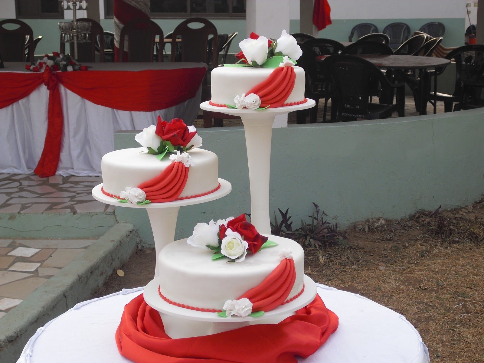 Cakes by Elsie Aikens  Red and white wedding cake Red and white wedding cake