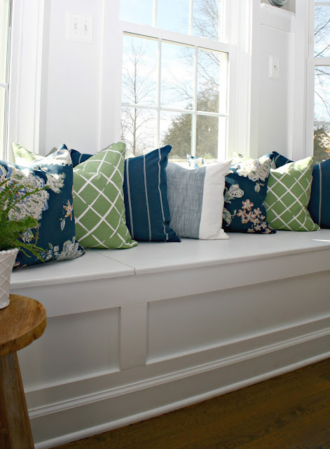 Blue, green and white pillow combo