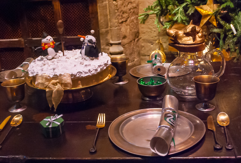 The table details of the grand hall in Harry Potter Studios, Engalnd