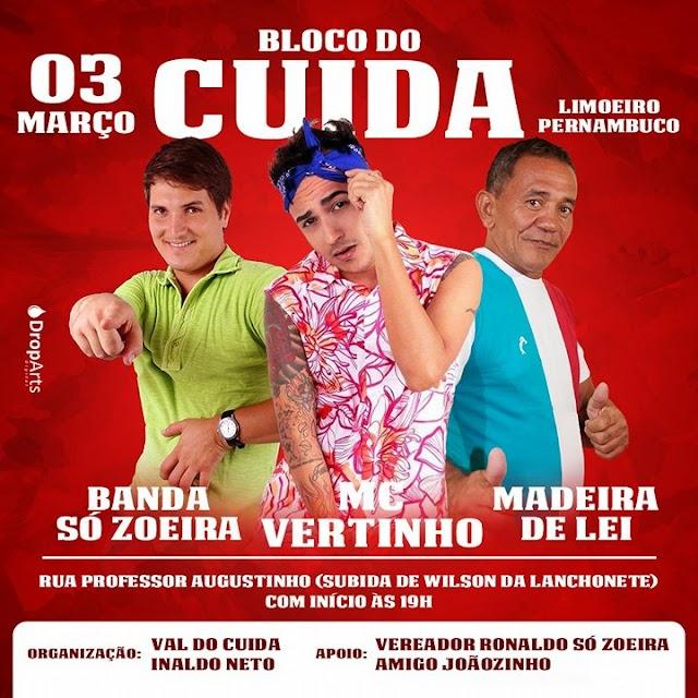 Ainda tem Carnaval em Limoeiro com o Bloco do Cuida