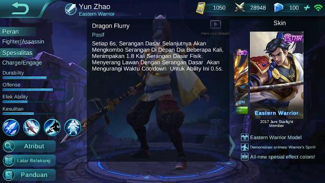 Yun Zhao, Jenis Hero Dalam Game Mobile Legend