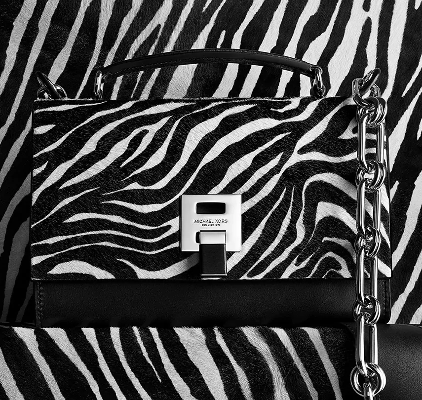 a474aaf1bd2c3d MICHAEL KORS COLLECTION Bancroft Zebra Calf Hair Shoulder Bag