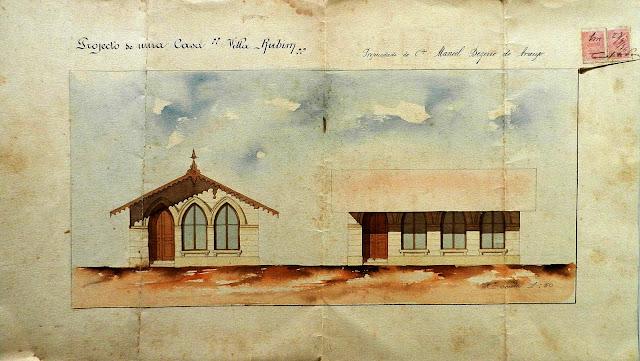 Projeto de edificação residencial Vila Rubim Manoel Bezerro de Araújo, 1896. Acervo Arquivo Público Municipal de Vitória.