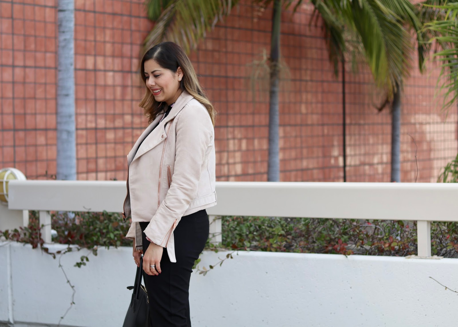 cabi black trousers, LC Lauren conrad blush moto jacket, San Diego street style