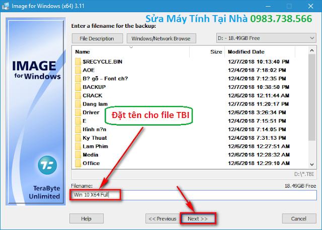 Đặt tên cho file TBI