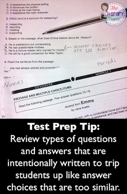 Test Prep Tip:  Review types of questions and answers that are intentionally written to trip students up like answer choices that are too similar. Read on for more effective ways to prepare students for standardized testing.