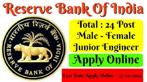 RBI Recruitment 2019 – Apply Online for Jr Engineer Posts