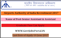 Airports Authority of India Recruitment 2017– Senior Assistant & Assistant
