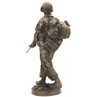 Bronze statue of army squad leader