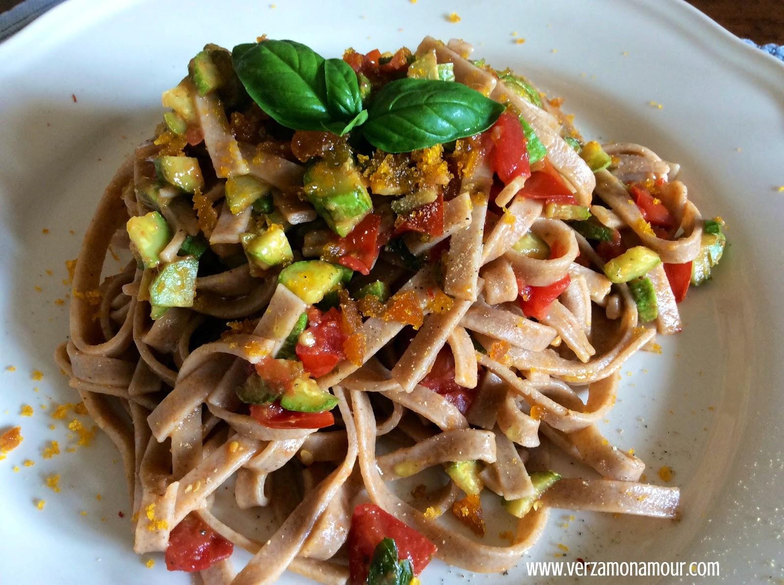 abbastanza Tagliatelle di farro con pomodorini, zucchine e bottarga ~ Ricette  HB53