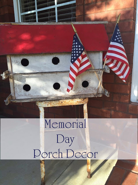 Patriotic, Memorial Day, 4th of July, red white blue old bird house on front porch