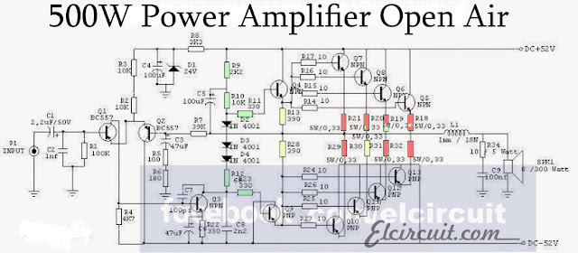 High End 500W power Amplifier Open Air  Electronic Circuit