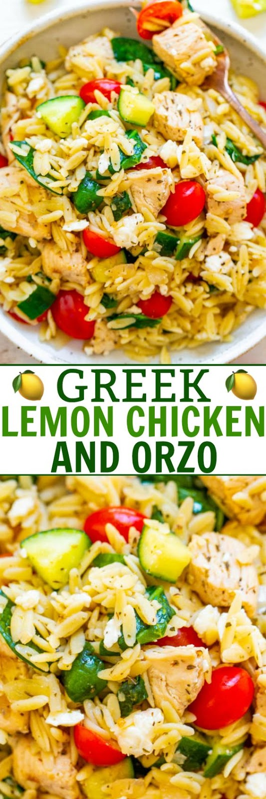 Greek Lemon Chicken and Orzo - EASY, ready in 25 minutes, and feeds a crowd!! Juicy lemon chicken with orzo, fresh spinach, cucumbers, and tomatoes make this a dinnertime WINNER! Great for parties, picnics, and potlucks!!