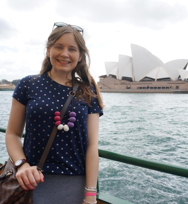 Away from blue polka dot tee LV speedy damier Sydney Opera House tourist pic from ferry | awayfromblue