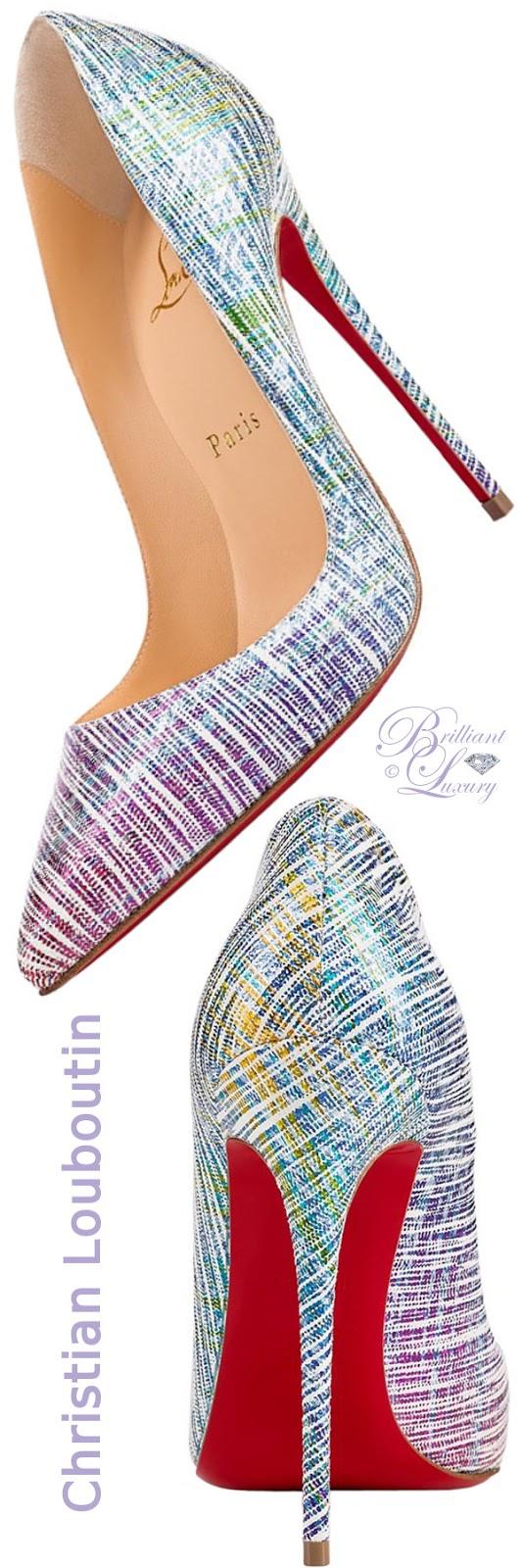 Brilliant Luxury ♦ Christian Louboutin So Kate pointed-toe superfine stiletto heels in pointillistic rainbow-print 'unicorn'