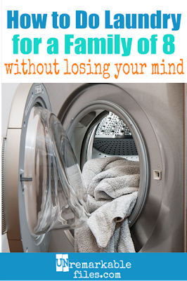 Ever wonder how large families ever get their laundry done? These laundry tips work with our big family of 8, and I'm sharing my favorite laundry hacks including organization, a laundry schedule, folding, sorting, and how old kids should be before they do their own laundry. This is a must-read for families with kids. #laundry #laundryhacks #largefamilies #bigfamily #laundrytips