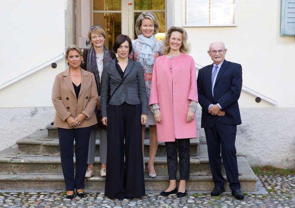 Queen Mathilde wore Diane von Furstenberg Vivanette gown, Giorgio Armani duster coat at Hotel Waldhaus in Sils Maria