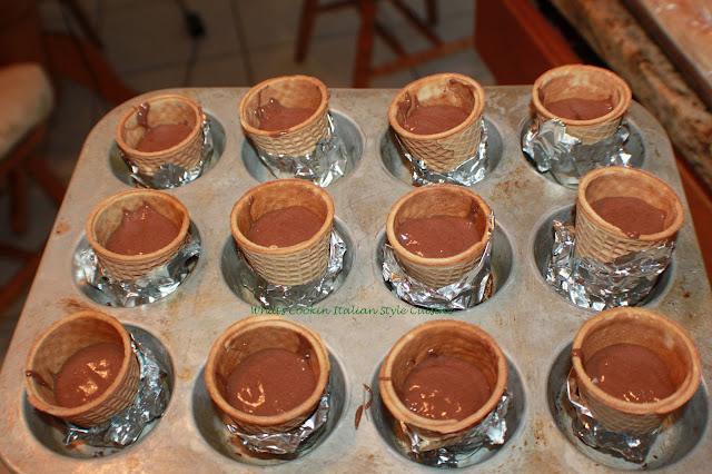 ice cream cones in cupcakes tins