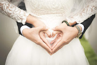 A wedding couple with heart sign
