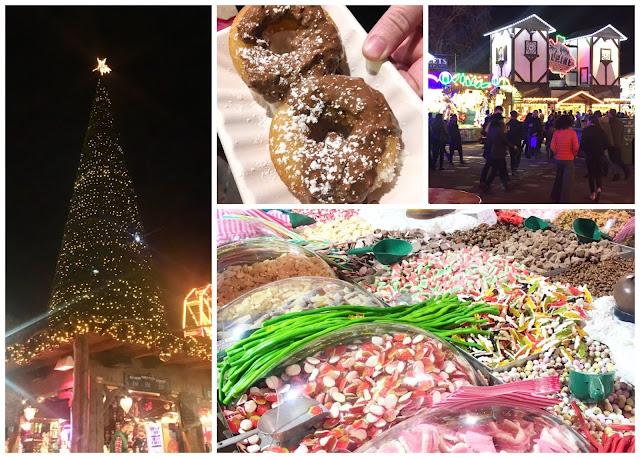 collage - Winter Wonderland, Hyde Park, London - Christmas tree, Ferrero Rocher doughnuts, sweets