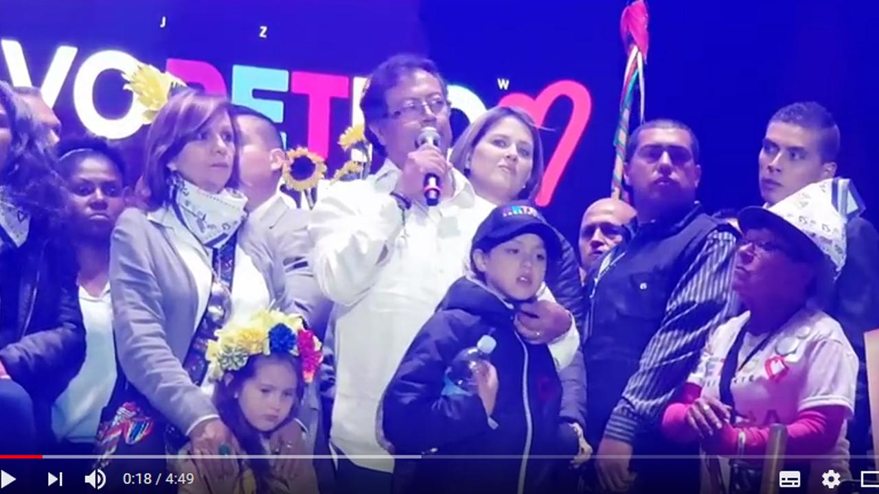 Gustavo Petro en la Plaza de Bolívar de Bogotá denuncia potencial Fraude electoral