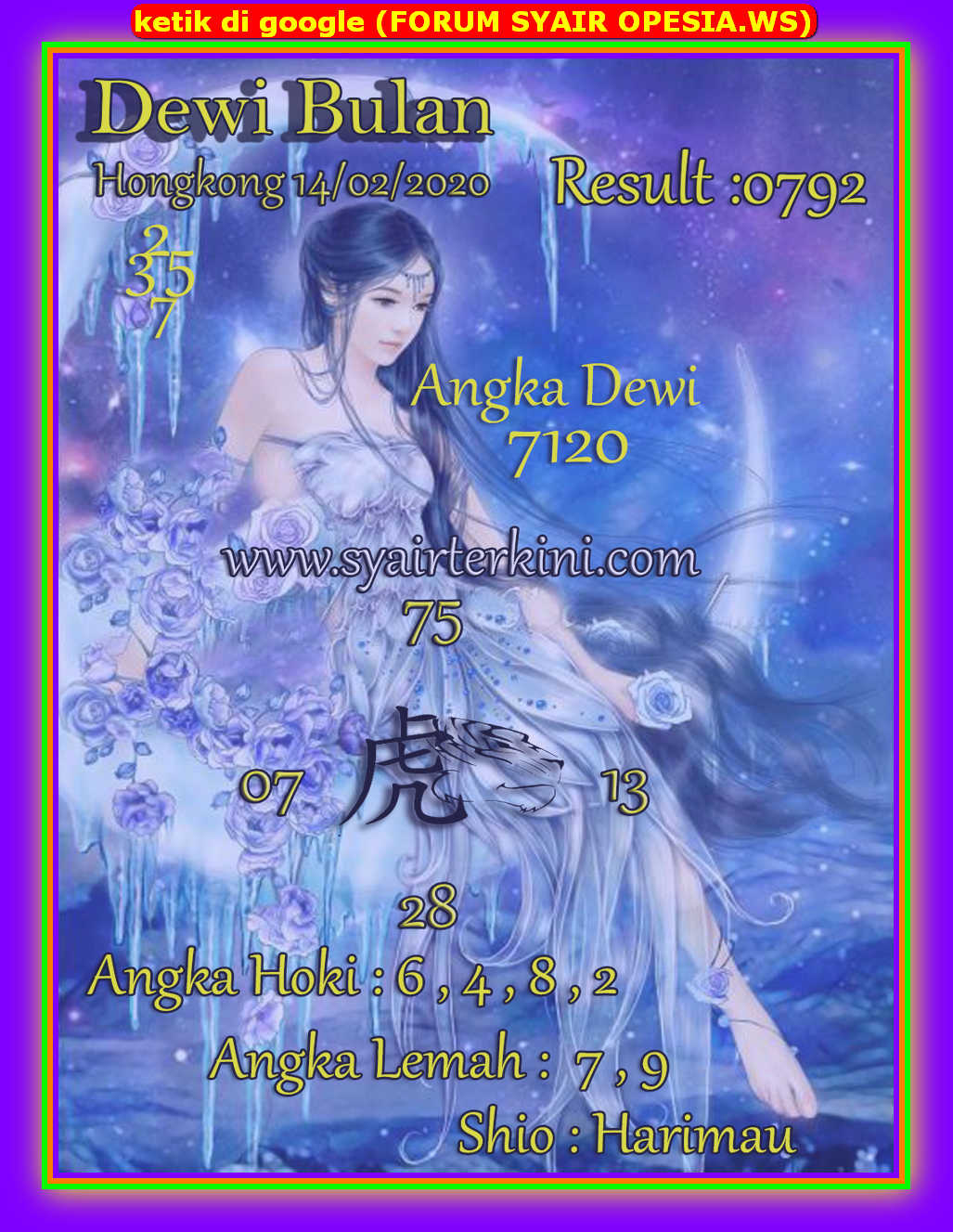 Kode syair Hongkong Jumat 14 Februari 2020 76
