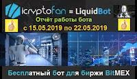 LiquidBot - отчёт работы бесплатного бота для биржи BitMEX с 15.05.2019 по 22.05.2019